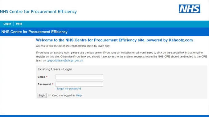 NHS portal log in screenshot