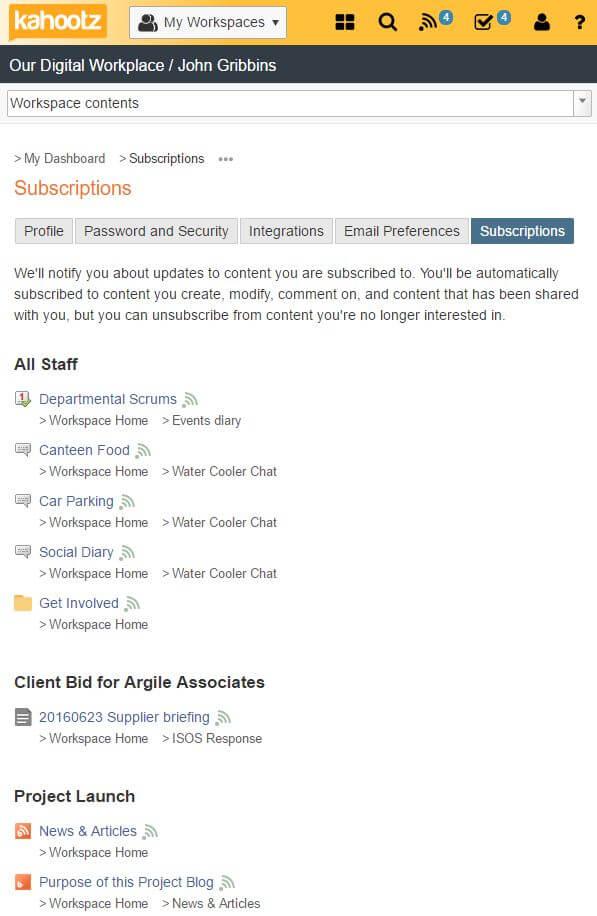 Subscriptions screenshot