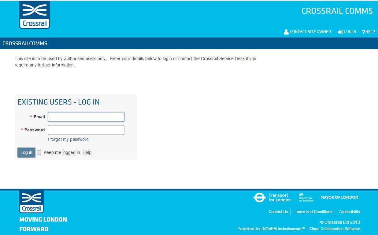 Cross rail portal login screenshot