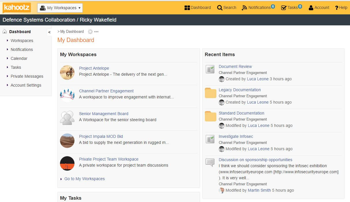 My dashboard screenshote