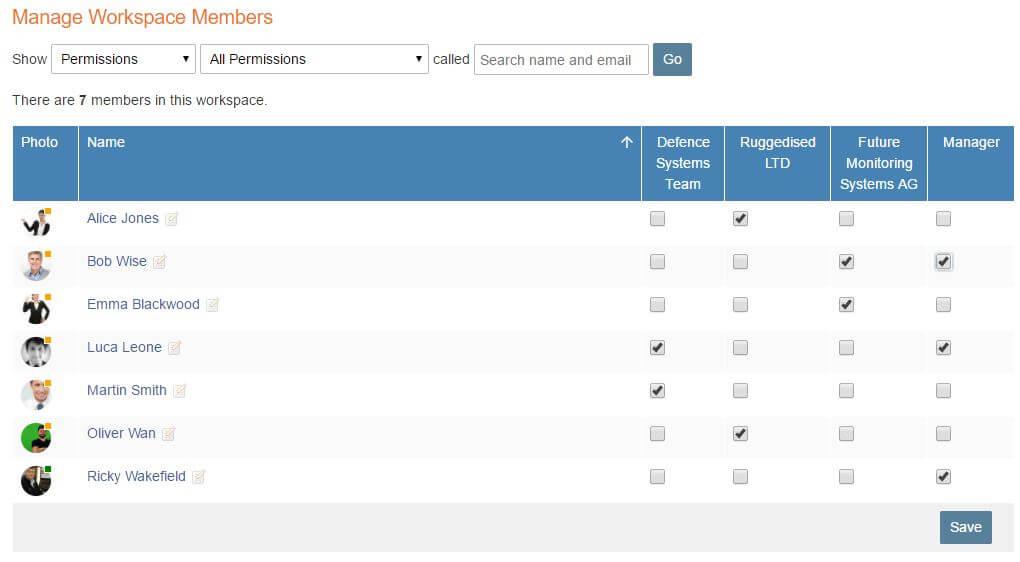 Manage workspace members screenshot