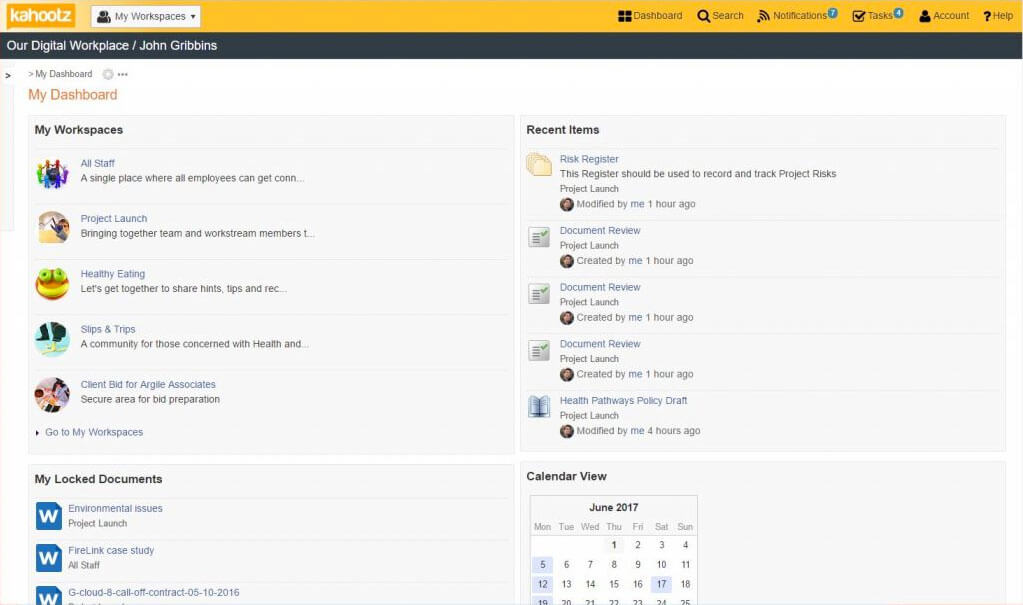 Kahootz Dashboard screenshot