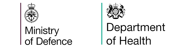 Ministry of Defence and Department of Health icons