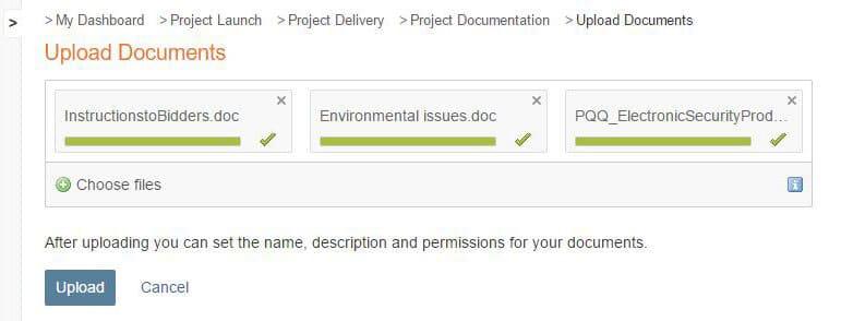 Document upload screenshot