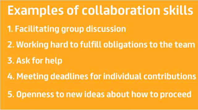 Examples of collaboration skills