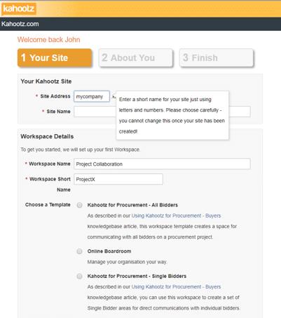 create Kahootz site